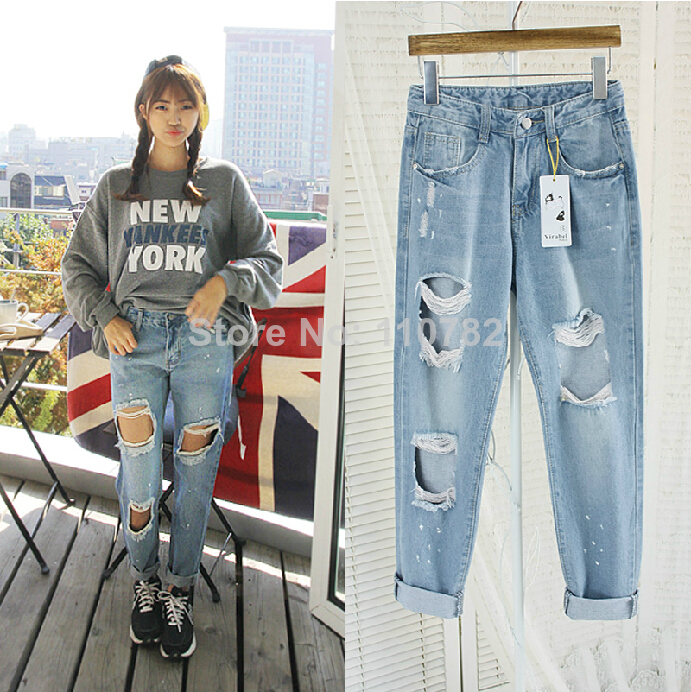 JP2 Lady's Street Fashion Splashed Oil Paint Destroyed Ripped Distressed Denim Harem Jeans Boyfriend Pants, Free Shipping on Aliexpress.com