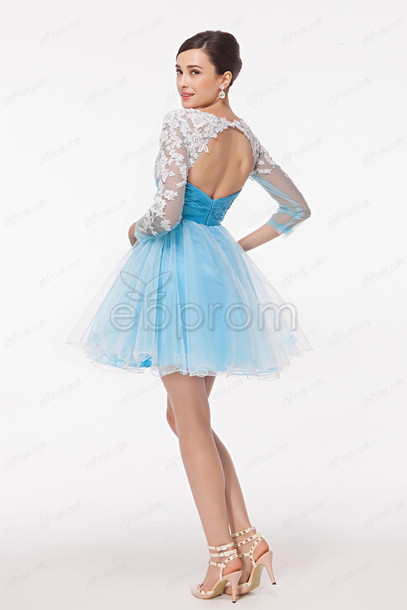 dress, short prom dress, long sleeves, open back, backless prom ...