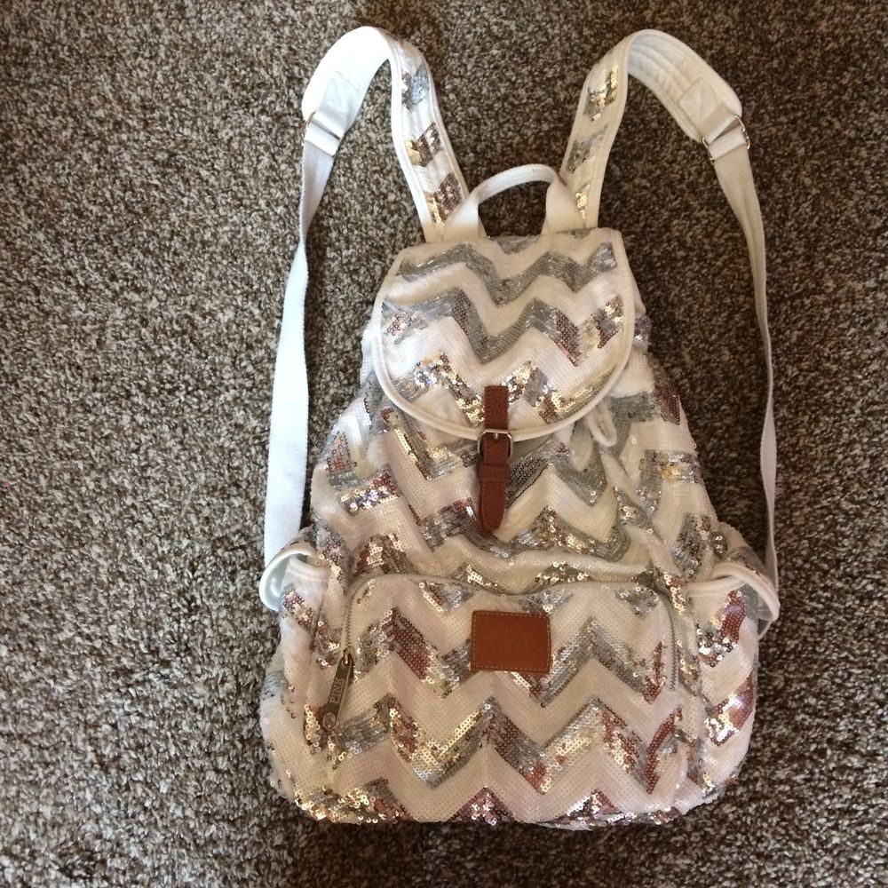 Victoria's Secret PINK bling backpack white and silver