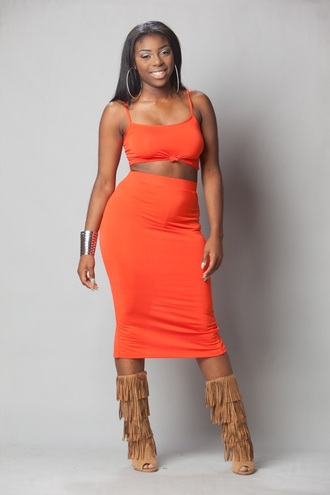 blouse orange tube top or tank top with matching skirt