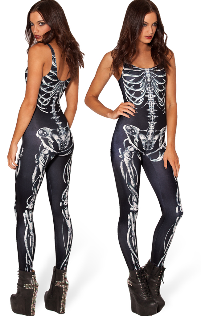 0e1ad9ea328e Women Skeleton Bone Punk Romper Jumpsuit Sexy Skeleton ...