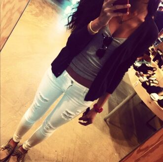 jeans white jeans ripped super skinny summer spring tank top sweater clothes white gray tanktop glasses pretty girly fall outfits
