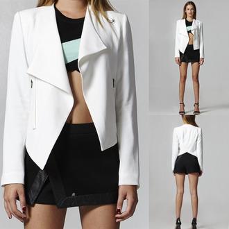 jacket white jacket white blazer girly jewels top draped blazer wrap jacket sexy dress white top sleek classy bottom