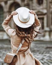 hat,coat,prada,tumblr,felt hat,white hat,camel,camel coat,bag,brown bag,prada bag,designer bag,ring,gold ring,gold jewelry,jewelry,monochrome outfit