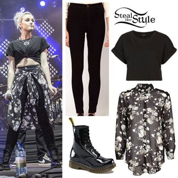 blouse little mix perrie edwards jeans t-shirt