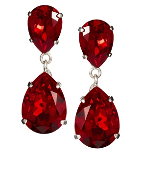 Krystal | Krystal Siam Red Swarovski Crystal Drop Earrings at ASOS