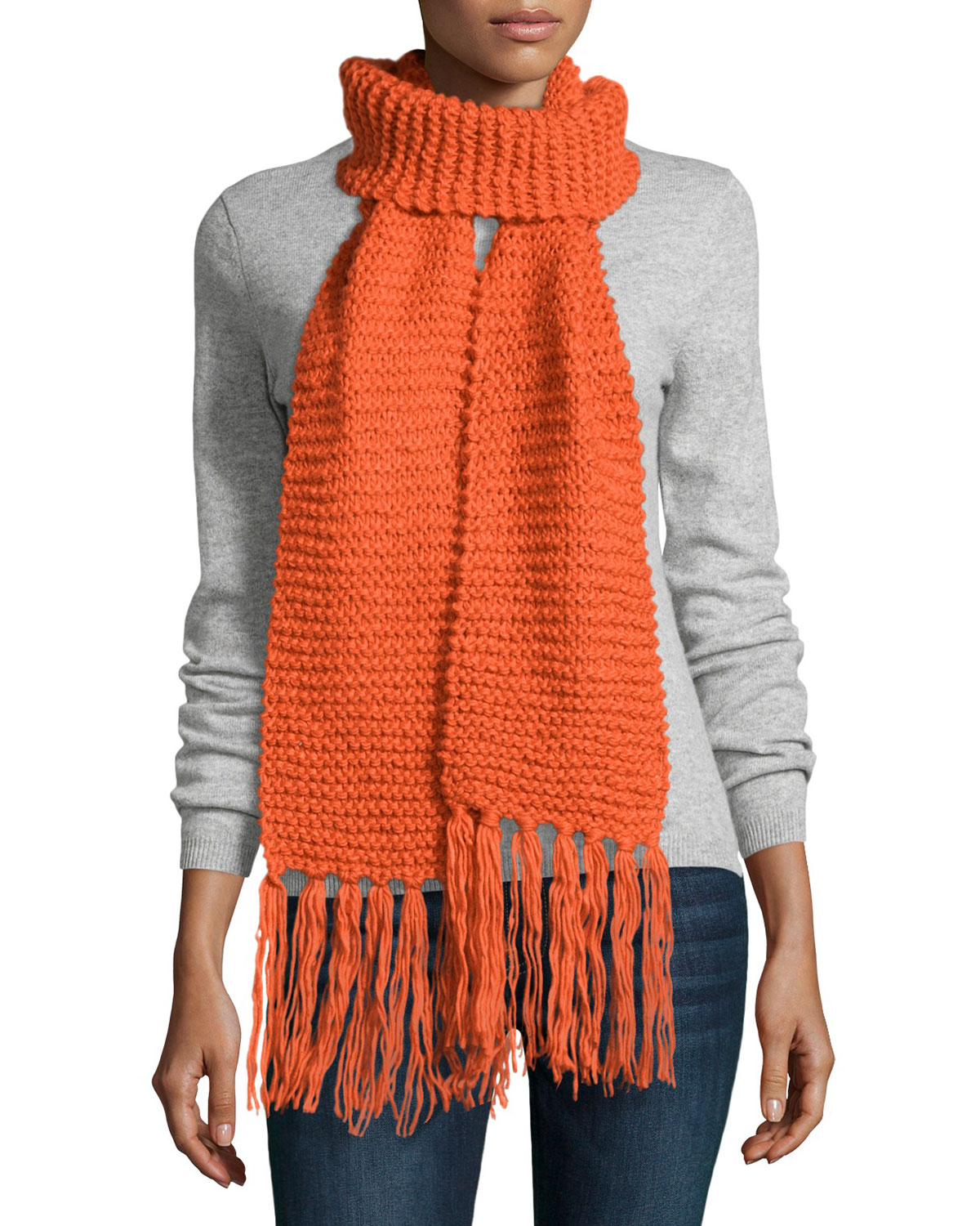 Textured Knit Long Scarf, Orange