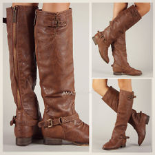 Riding Boots Back Zipper Buckle Strap Rustic Brown Knee High ...