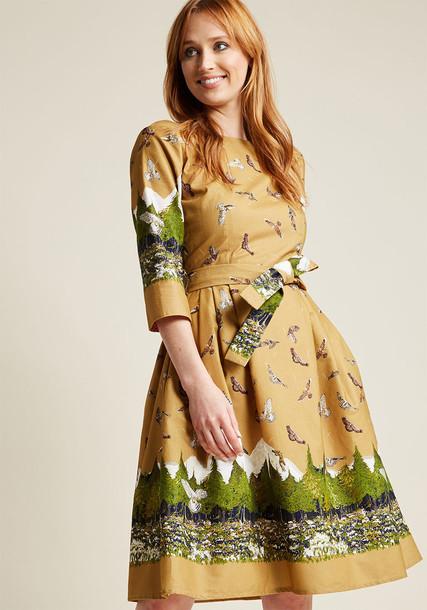 Beatrice Birds of Prey dress mustard dress book cotton mustard yellow