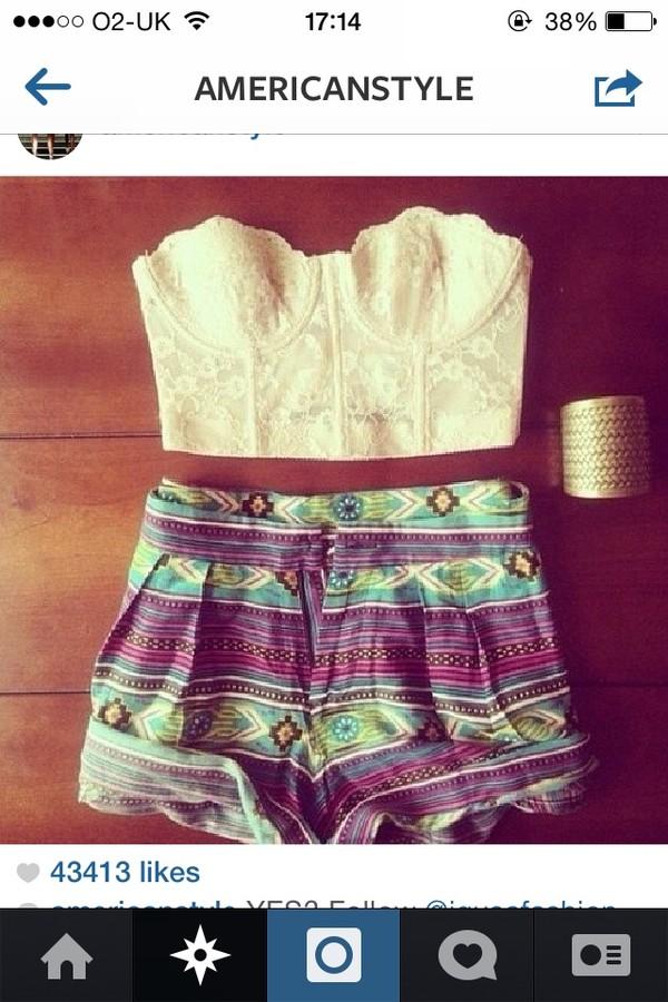 blouse shorts jewels