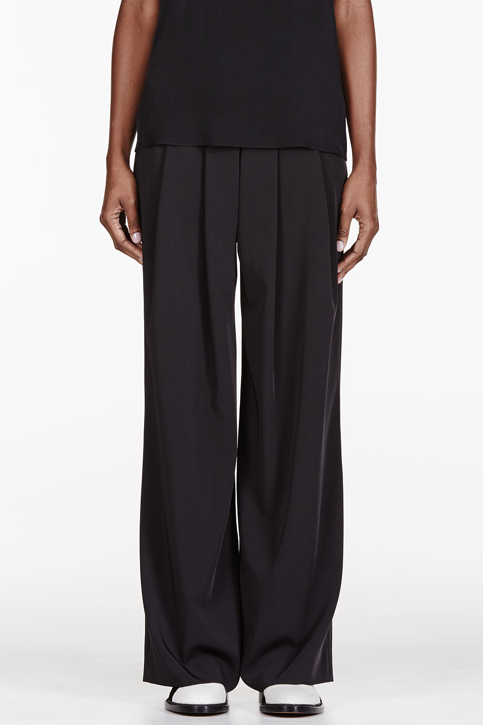 altuzarra black wide leg pleated trousers