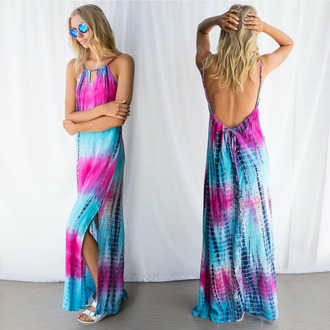 dress tie dye dress backless dress boho hippie hippie dress