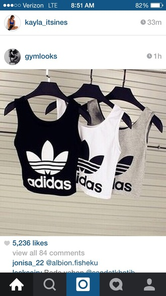 shirt adidas crop crop tops gym tank top top