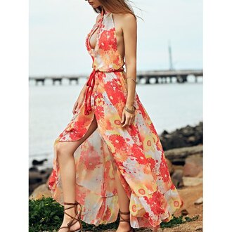 dress rose wholesale floral maxi dress halter top summer dress summer outfits style floral maxi dress red orange flowy summer spring red dress beautiful trendy fashion rosewholesale.com