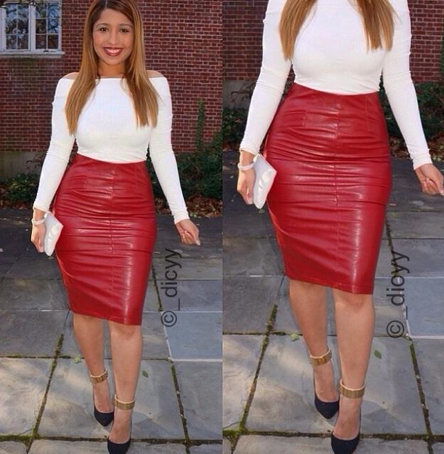 Modededicyy ? red leather skirt
