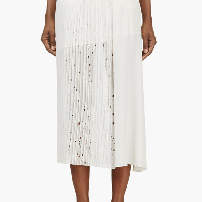 pleated white skirt perforated rayan pleated skirt white