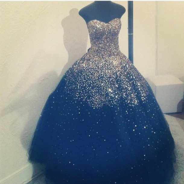 Dress: midnight blue, sparkly prom dress, cupcake, style ...