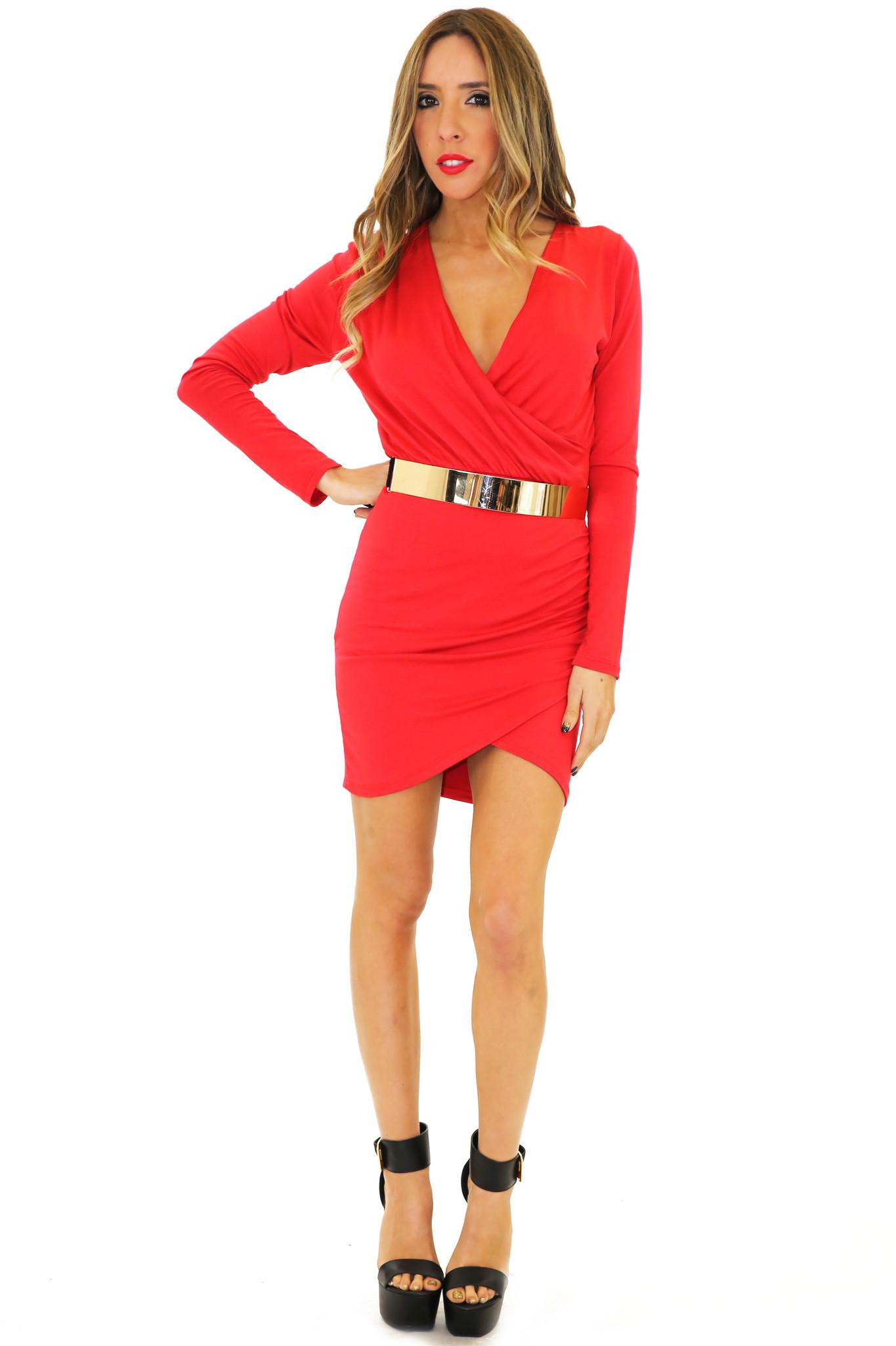 JANE DRAPED DRESS - Red | Haute & Rebellious