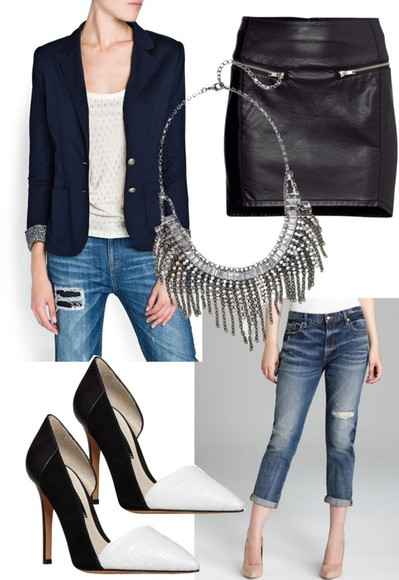 jeans jewels short skirt tight skirt high heels necklace jacket