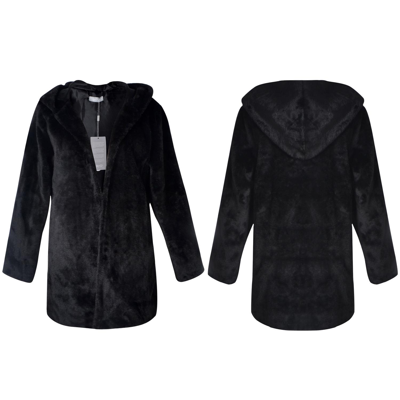 Casual black casual hooded fur coat