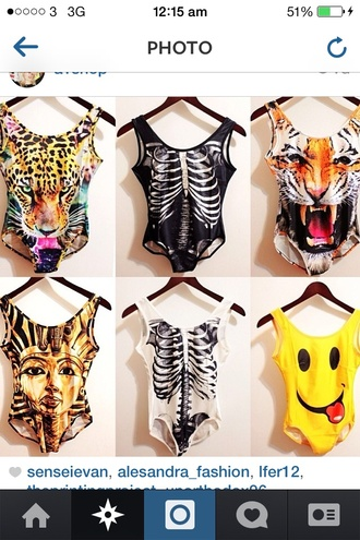 swimwear bodysuit skeleton smiley tiger
