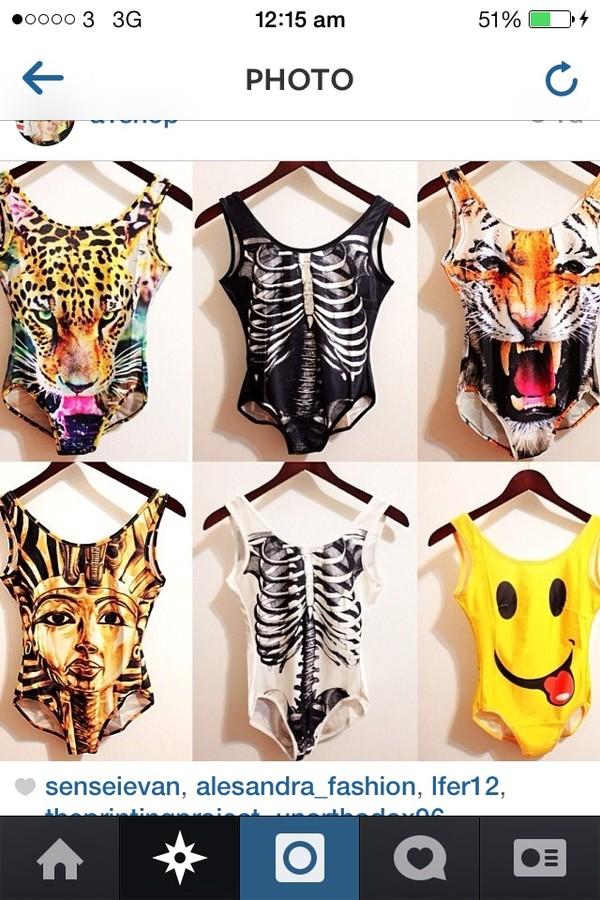 swimwear bodysuit skeleton smiley tiger
