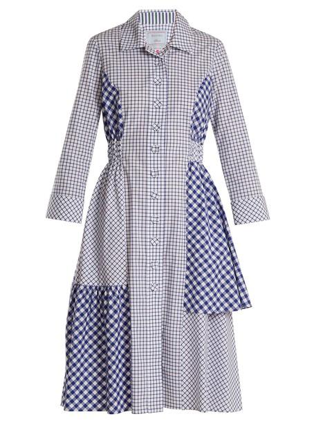 DOVIMA PARIS shirtdress cotton navy white dress