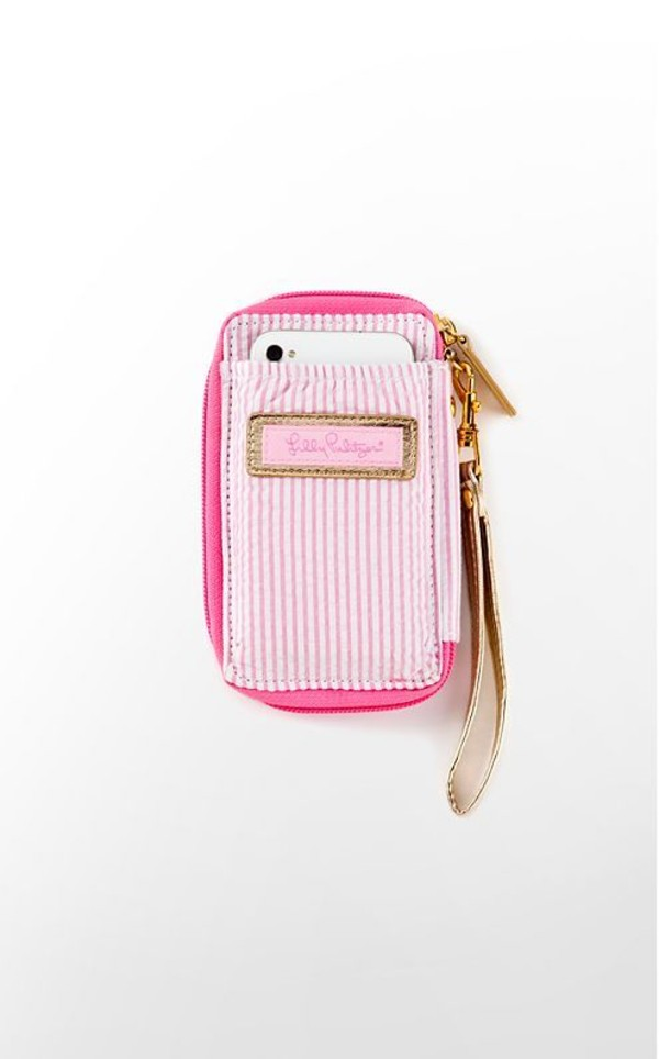bag wristlet seersucker pink wallet iphone cover teen idle love more