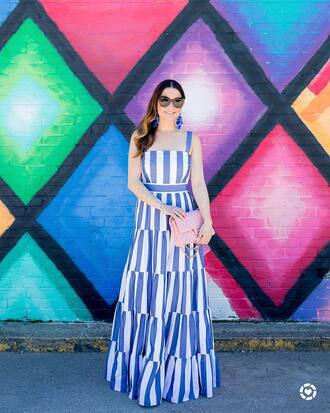 dress tumblr maxi dress long dress stripes striped dress earrings bag pink bag sunglasses jewels