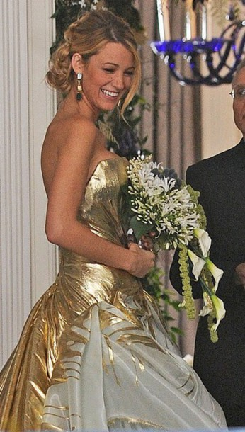 serena van der woodsen, gossip girl, gold, wedding dress - Wheretoget