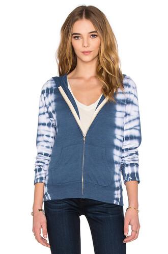 hoodie zip tie dye blue