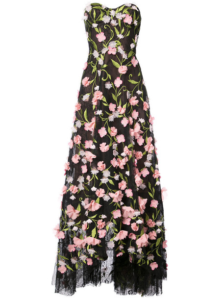 gown strapless women floral black dress