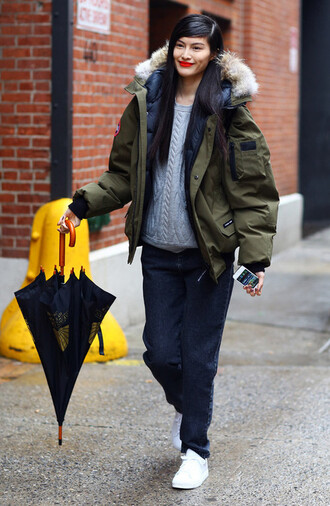 jacket jacket canada goose coat green military style canada goose army green jacket oversized oversized jacket winter jacket hooded jacket jeans denim blue jeans sweater grey sweater knit knitwear knitted sweater sneakers white sneakers