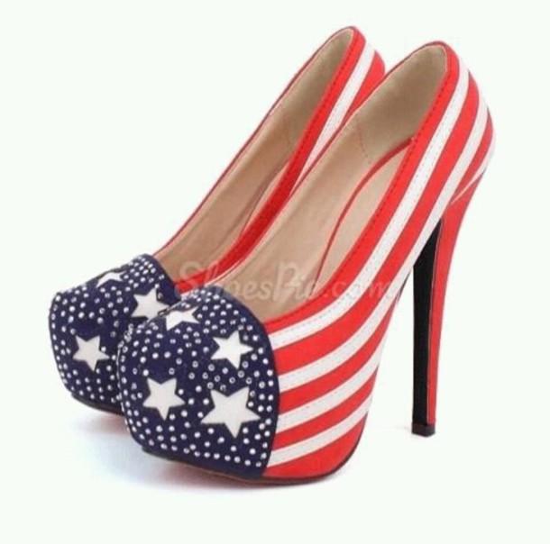 belt pumps american flag july 4th high heel pumps platform pumps