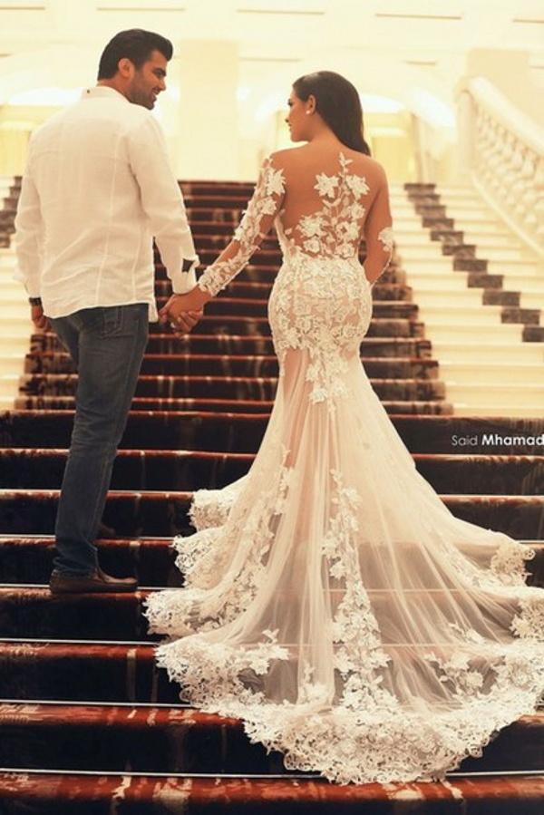 Wholesale Mermaid Wedding Dresses - Buy New Fashion Sexy See Through Mermaid Wedding Dresses Sheer Scoop And Back Court Train Applique Lace Long Sleeve Wedding Bridal Gowns, $149.74 | DHgate