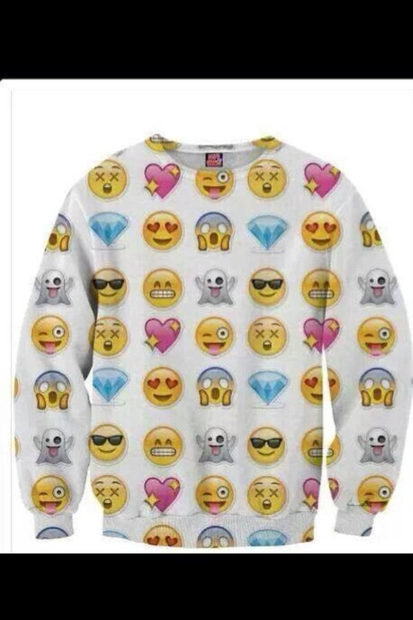 sweater emoji print emoji print 3d sweatshirts sweatshirt crewneck sweatshirt stickers smileys shirt top dress