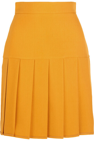 skirt mini skirt mini pleated silk wool mustard