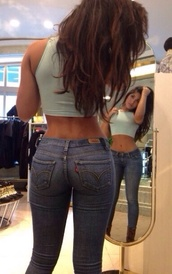 pants,jeans,levi's,shirt,tank top,denim,mirror,pockets,top,crop tops,cropped,halter neck,low rise,low rise denim,tight,abs,green,blue,latina