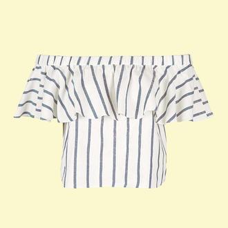 top topshop bardot top off the shoulder top peasant top stripes summer top striped top