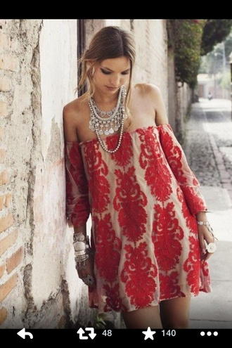 dress red dress off the shoulder dress red printed dress boho boho dress white layers gypsy