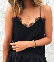 top,black cami top,cami top,black top,lace top,necklace,bracelets,ring,jewels,jewelry,moon necklace,silver necklace,layered,crescent pendant