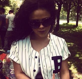 t-shirt baseball jersey oversized t-shirt top stripes sunglasses
