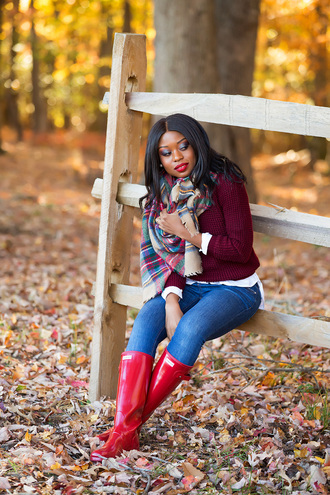 jadore-fashion blogger sweater coat scarf shirt shoes jeans fall outfits burgundy sweater tartan scarf wellies