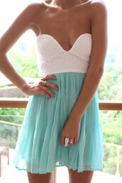 aqua dress,blue dress,lace top dress,dress,tiffany blue,sweatheart,summer,chiffon bottom,lace,bralette,skirt,white,strapless,blue,lace dress,turquoise,strapless dress,tiffany,blue white aqua summer dress