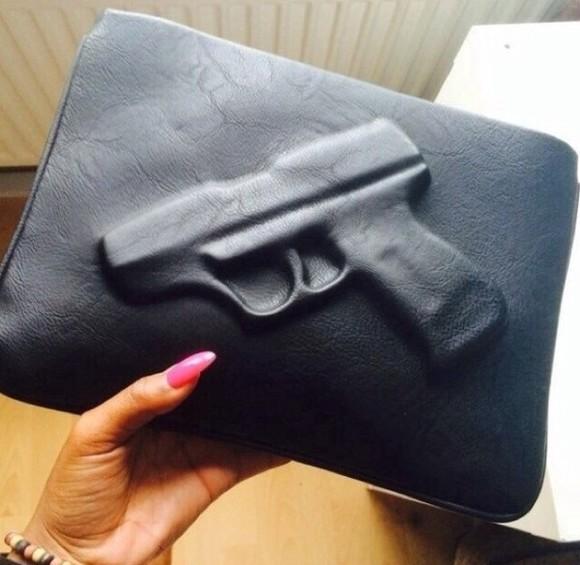 bag zip black clutch gun purse