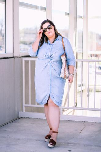 stylishsassy&classy blogger dress shoes bag sunglasses plus size plus size dress wedges louis vuitton bag spring outfits