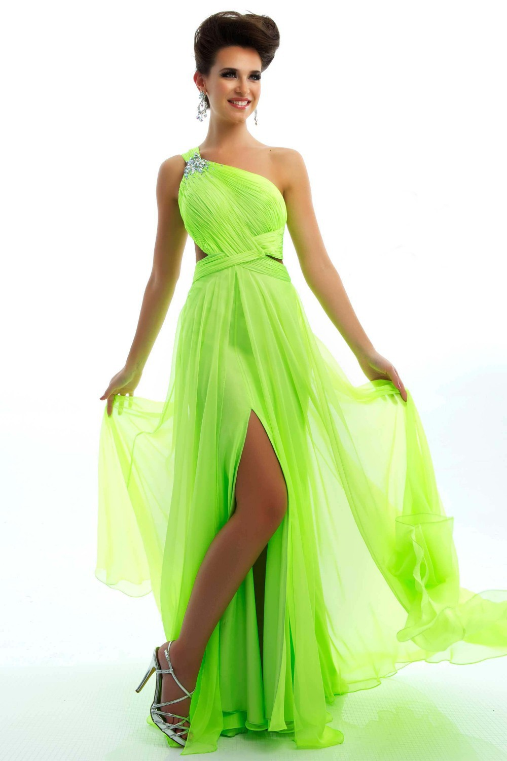 Buy Beading Ruched One Shoulder Side Cut