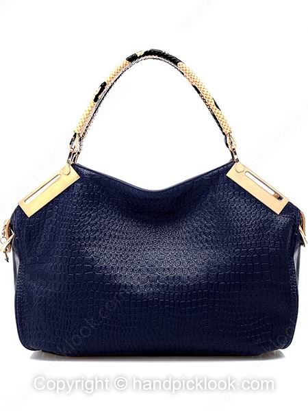 Dark Blue Metel Embellished Genuine Leather Handbag - HandpickLook.com
