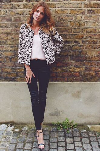 shoes barely there heels back heels jacquard jacket leather pants white top ankle strap heels black and white jacket