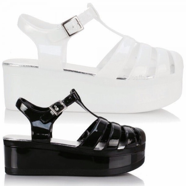 719763b3c90c shoes black platforms white platforms jellies jellies flatforms flatform  sandals